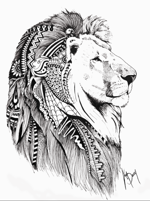 Lordy black and white lion with ornamented mane tattoo for Black and white lion tattoo