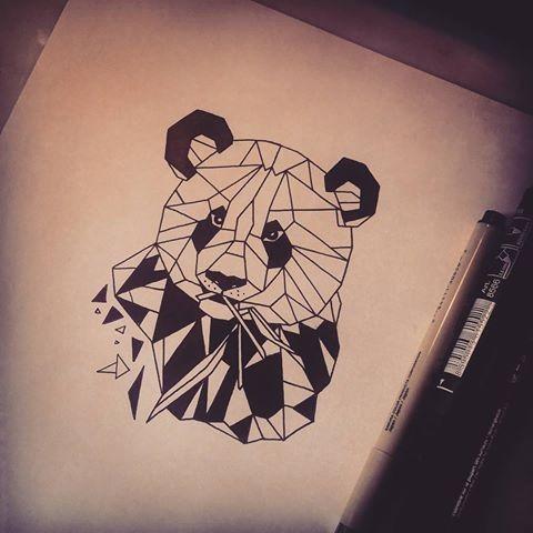 Lordy blak-and-white geometric panda portrait tattoo design