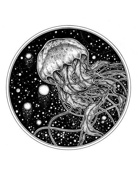 Lordy dotwork jellyfish on black snowball background tattoo design