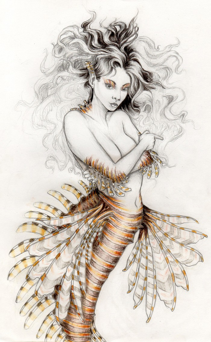 Lordy grey-haired mermaid with original flipper tail tattoo design by Meirouya