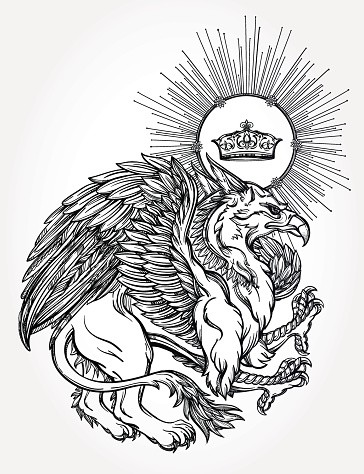 Lordy grey-ink griffin with a shining crown on a head tattoo design