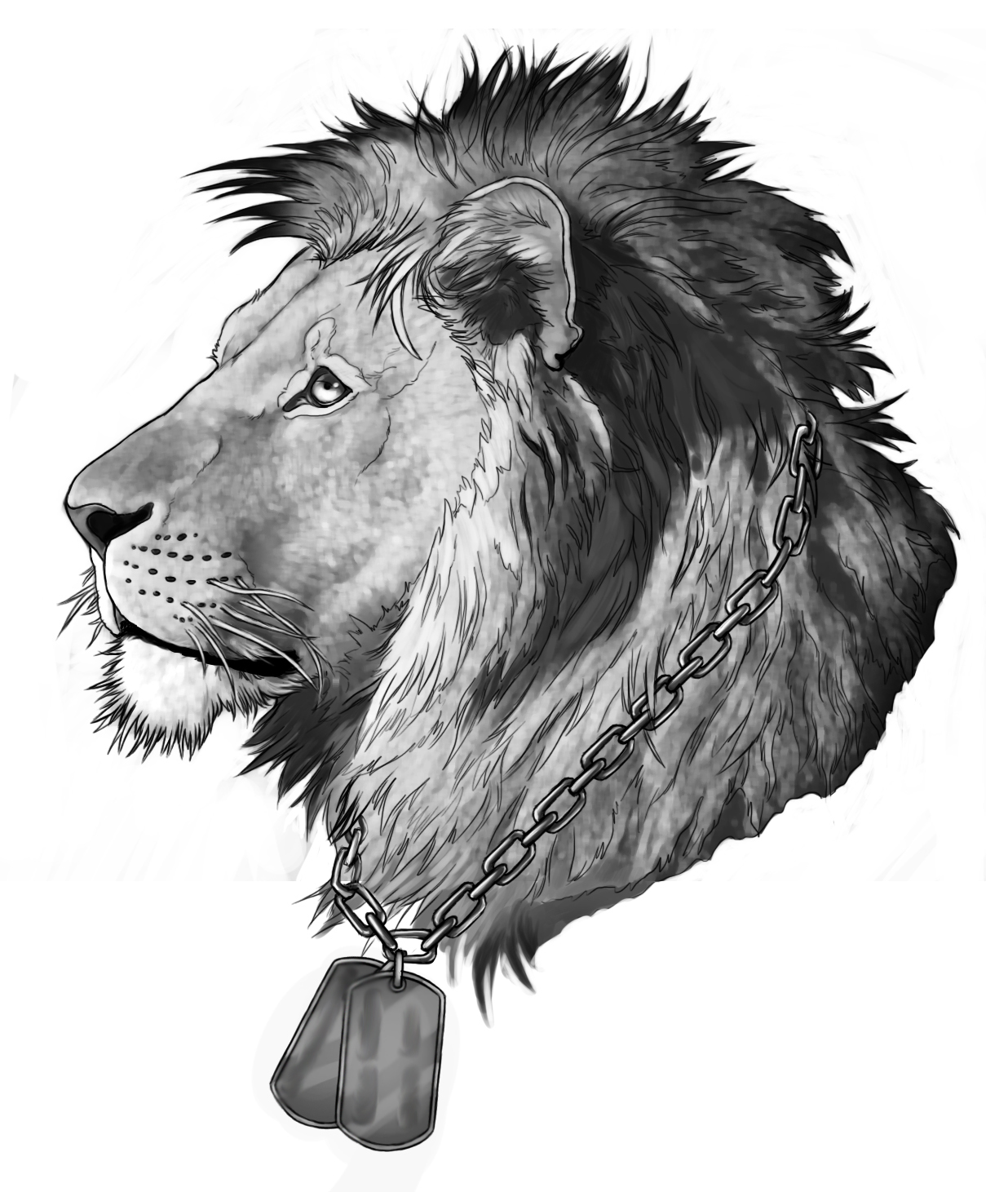 Lordy Grey Lion In Chained Necklace With Madallion Tattoo Design By