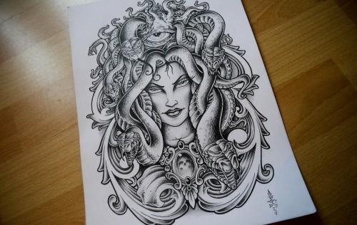 Lordy pragmatic medusa gorgona in beautiful decorated frame tattoo design