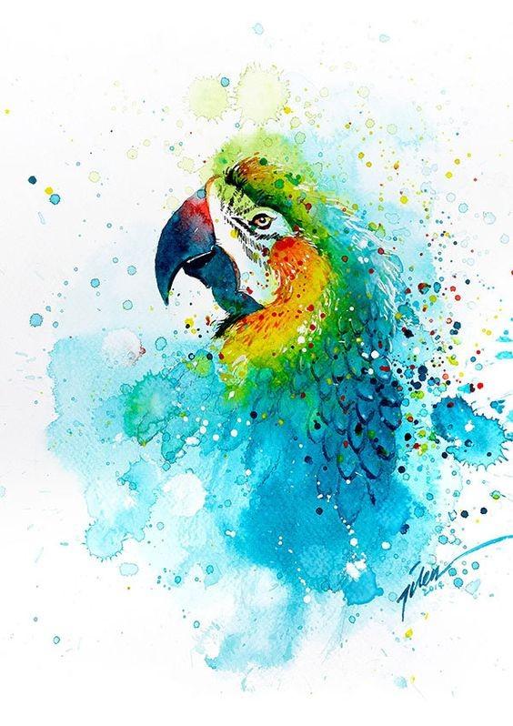 Lordy watercolor parrot portrait tattoo design