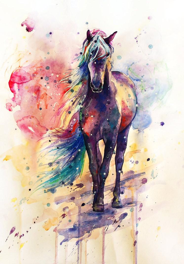 Lordy Watercolor Walking Unicorn Tattoo Design Tattooimages Biz