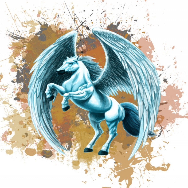 Lordy white pegasus on brown watercolor background tattoo design by Glaubart