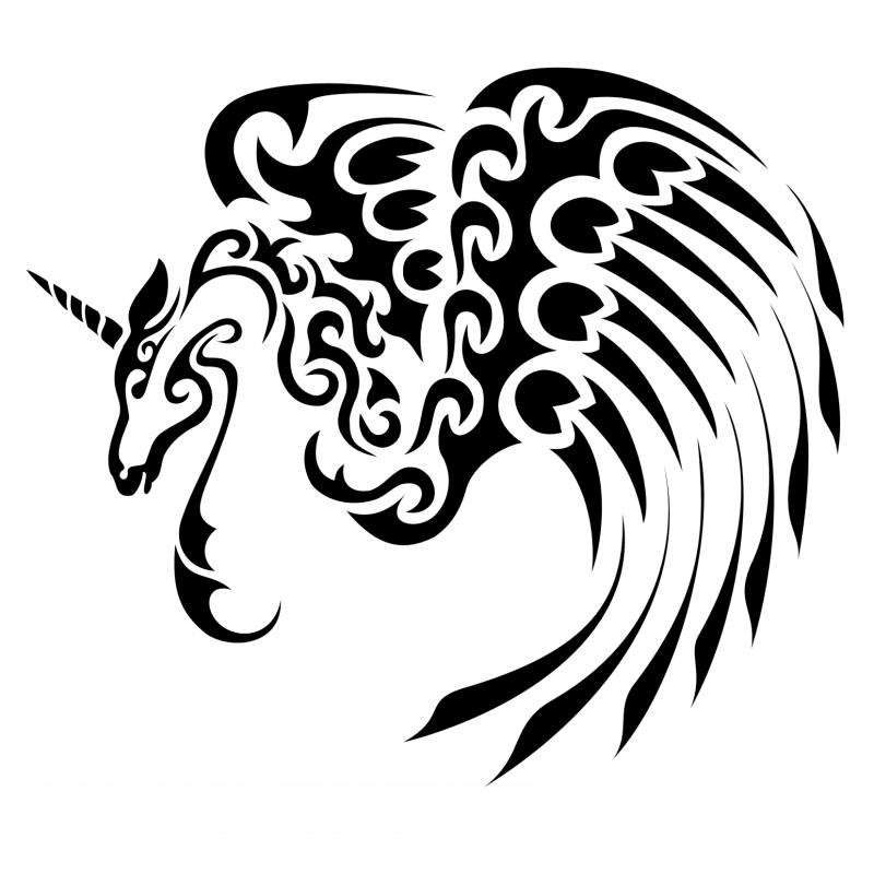 Lovable black-ink tribal winged unicorn pegasus tattoo design