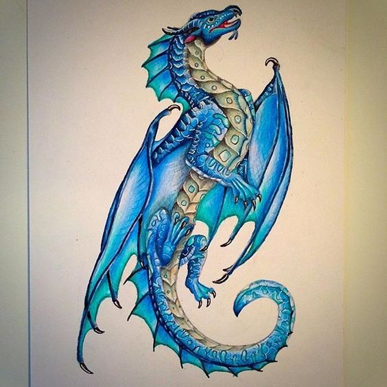 lovable blue fairy dragon tattoo design. Black Bedroom Furniture Sets. Home Design Ideas