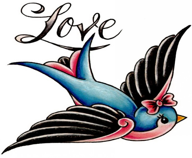 Love sparrow with cute pink bow on head tattoo design