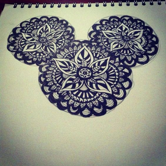 Lovely Mickey Mouse head with mandala pattern tattoo design