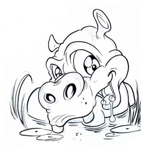 Lovely animated hippo splashing in water tattoo design