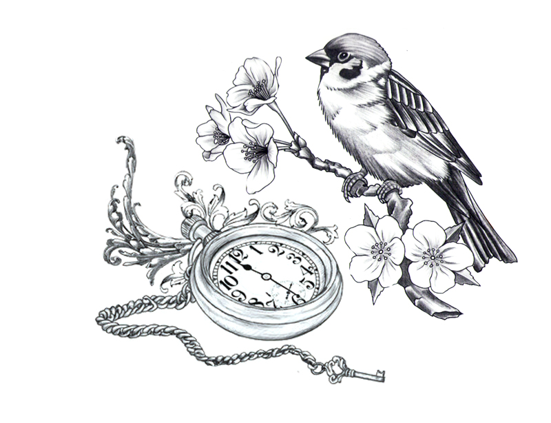 Lovely bird sitting on blossom branch and a pocket clock tattoo design
