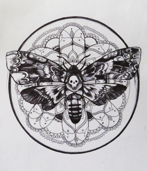 Lovely black-and-white death moth on huge mandala background tattoo design