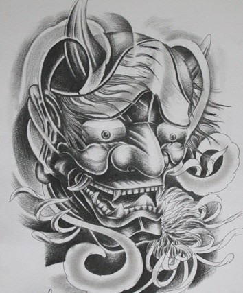 Lovely black-and-white demon head and pretty flower bud tattoo design