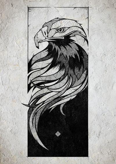 Lovely black-and-white geometric eagle portrait tattoo design
