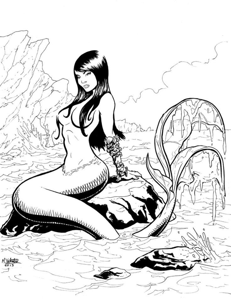 Lovely black-and-white mermaid resting on marine rock tattoo design