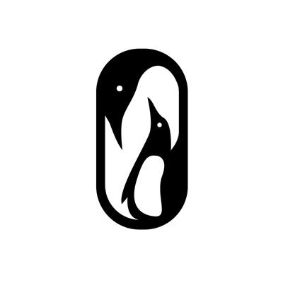 Lovely black-and-white penguin family in frame tattoo design