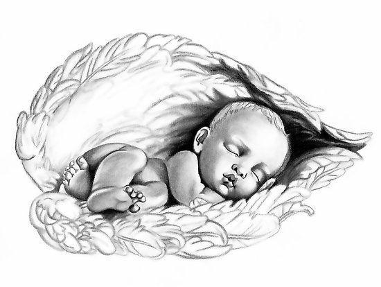 Lovely black-and-white sleeping baby angel tattoo design