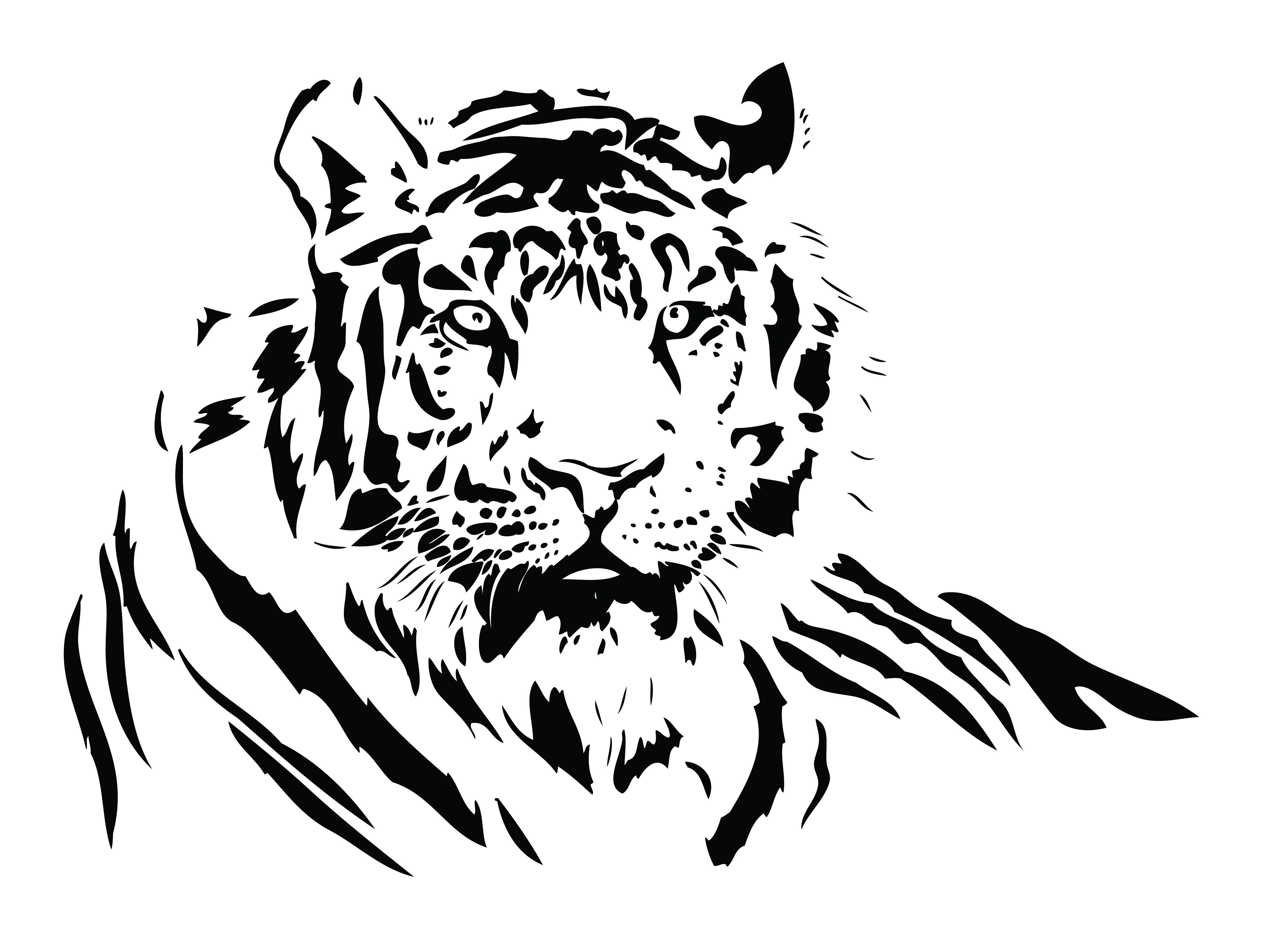 Lovely black-striped resting tiger tattoo design