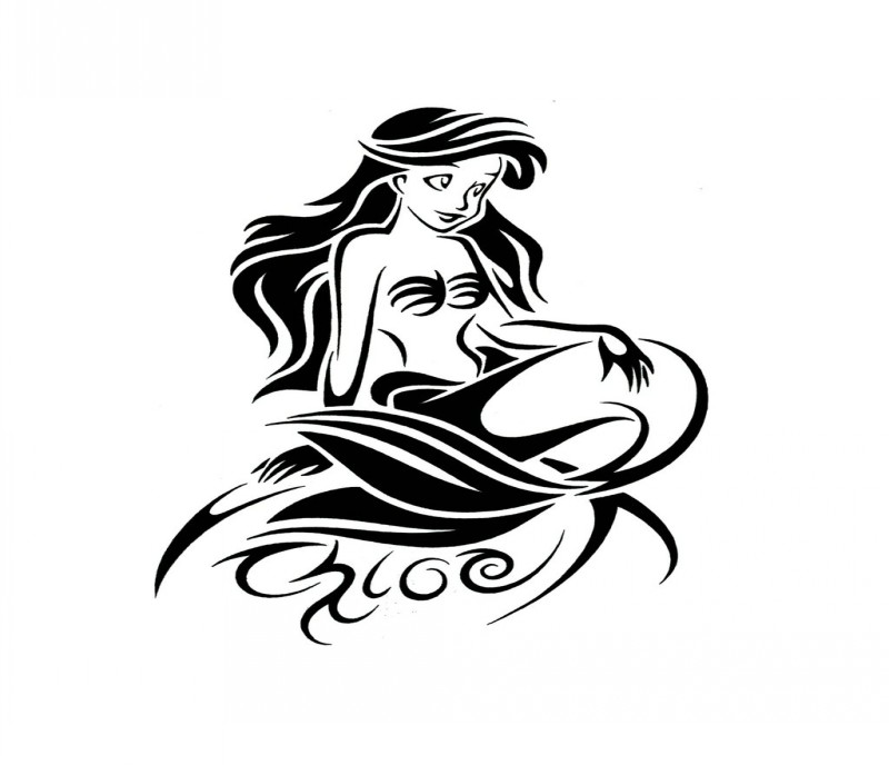 Lovely black cartoon tribal mermaid tattoo design
