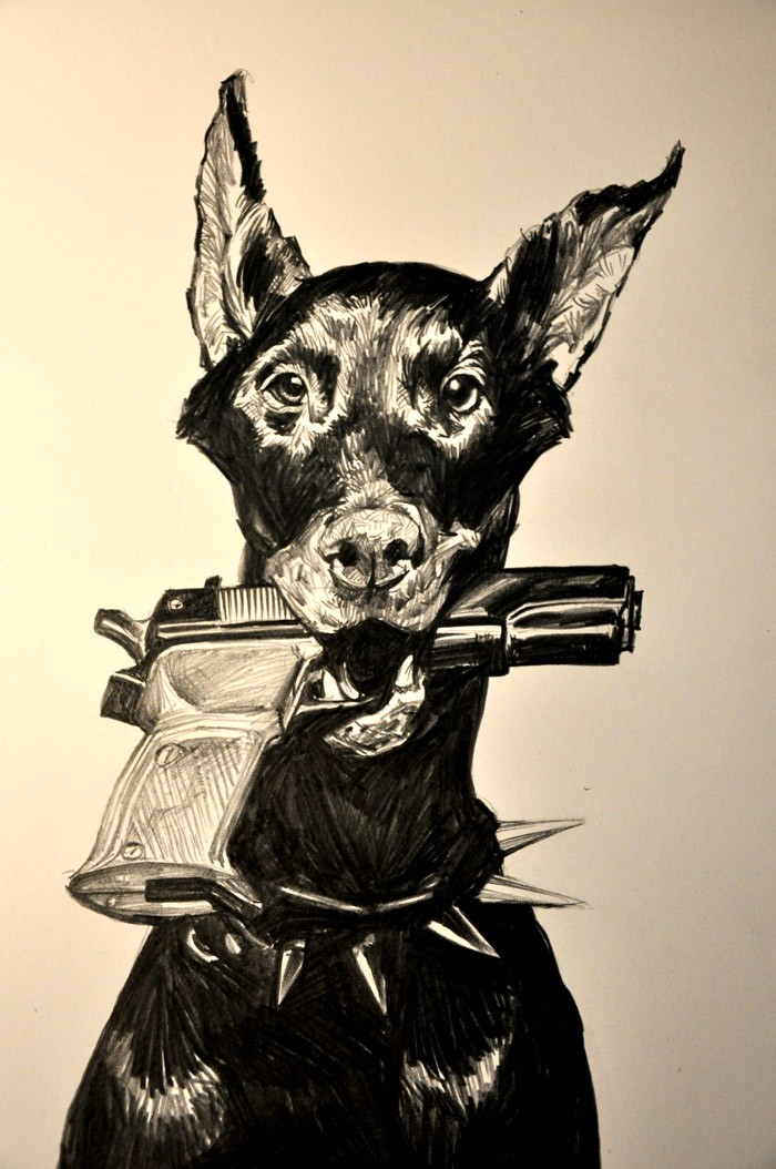 Lovely black doberman keeping a gun in teeth tattoo design by Banhatin