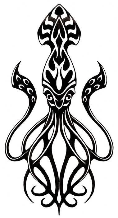 Lovely black squid water animal tattoo design