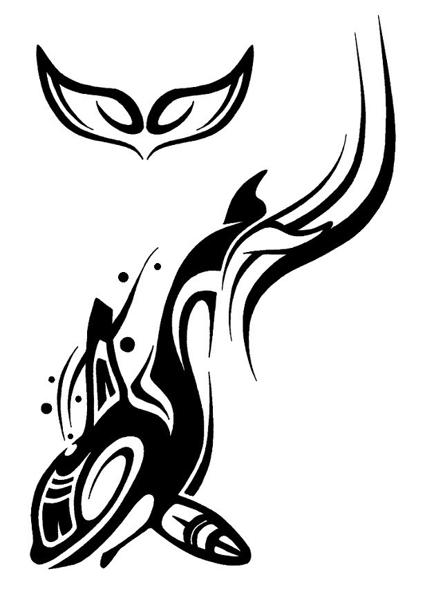 Lovely black tribal dolphin swimming down tattoo design