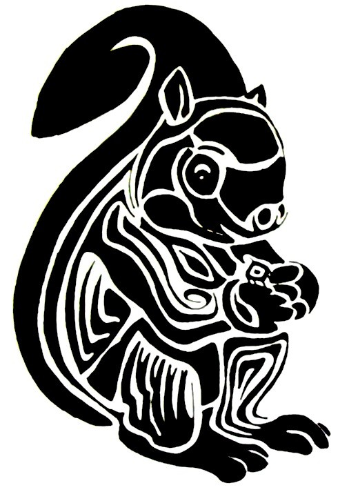 Lovely black tribal squirrel tattoo design by Karly Trouble
