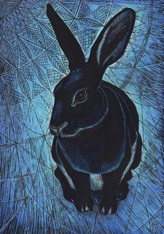 Lovely black waiting midnight hare tattoo design