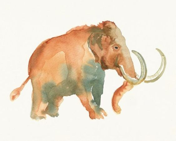 Lovely brown-and-grey watercolor mammoth baby tattoo design