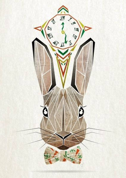 Lovely brown geometric hare muzzle with tie-bow tattoo design