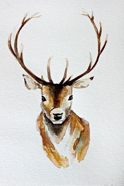 Lovely brown watercolor deer portrait tattoo design