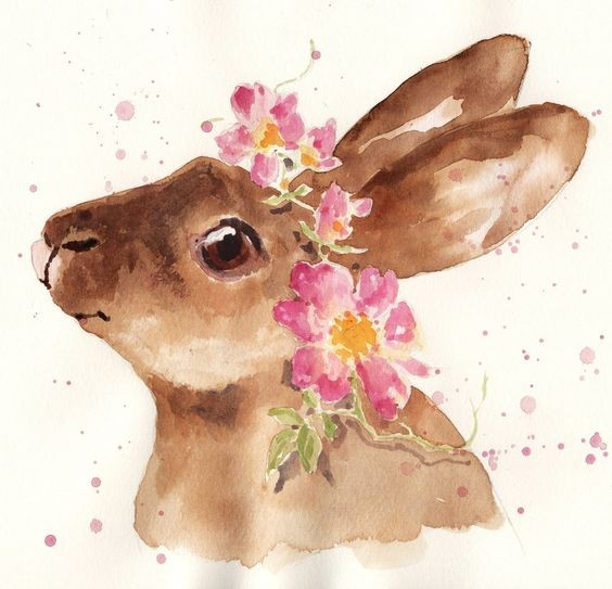 Lovely brown watercolor hare in pink wreath tattoo design