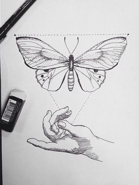 Lovely butterfly in triangle frame and open human hands tattoo design