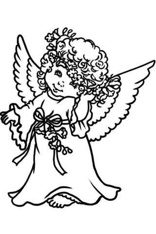 Lovely cartoon angel girl in a wreath tattoo design