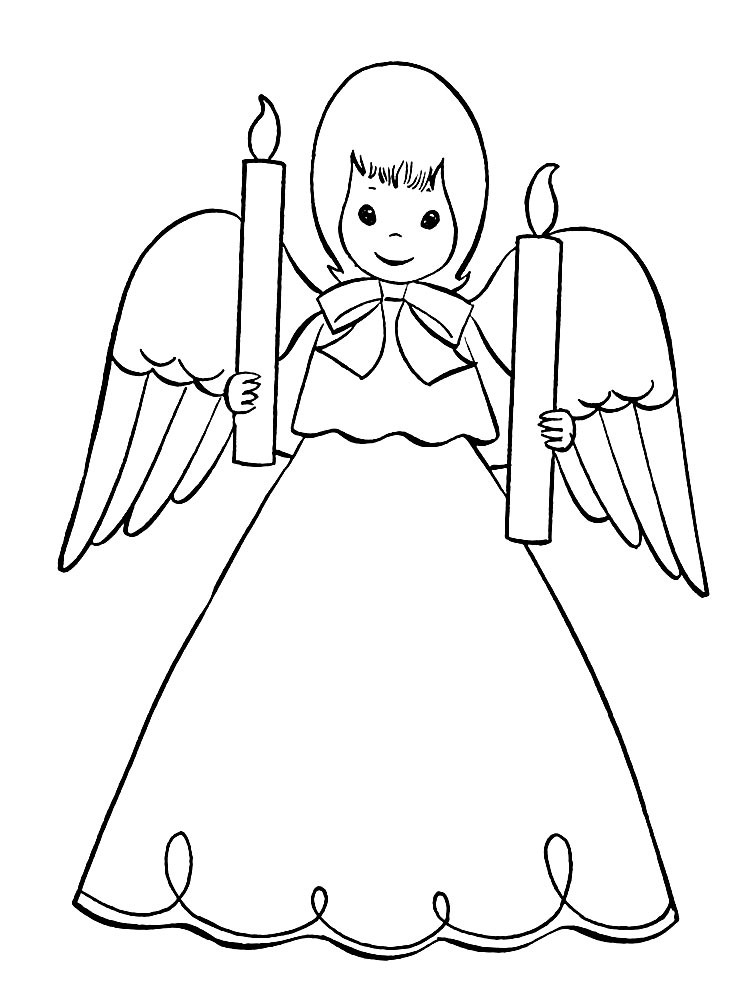 Lovely cartoon angel girl with two candles tattoo design