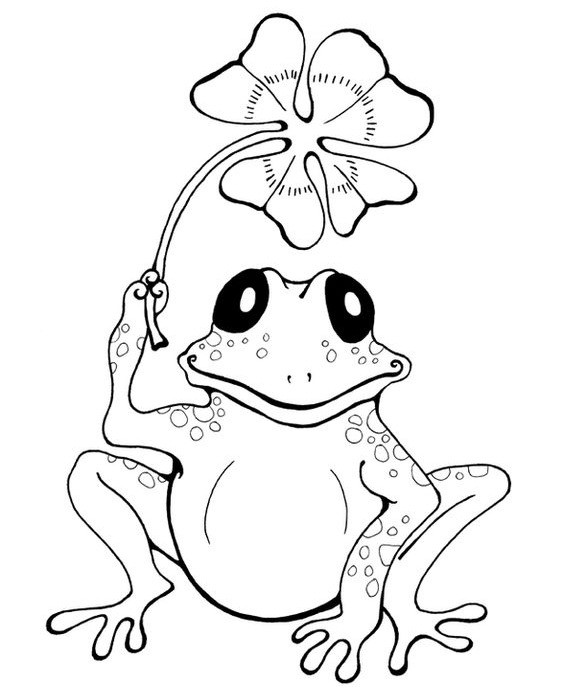 Lovely cartoon outline reptile with four-leaf clover tattoo design