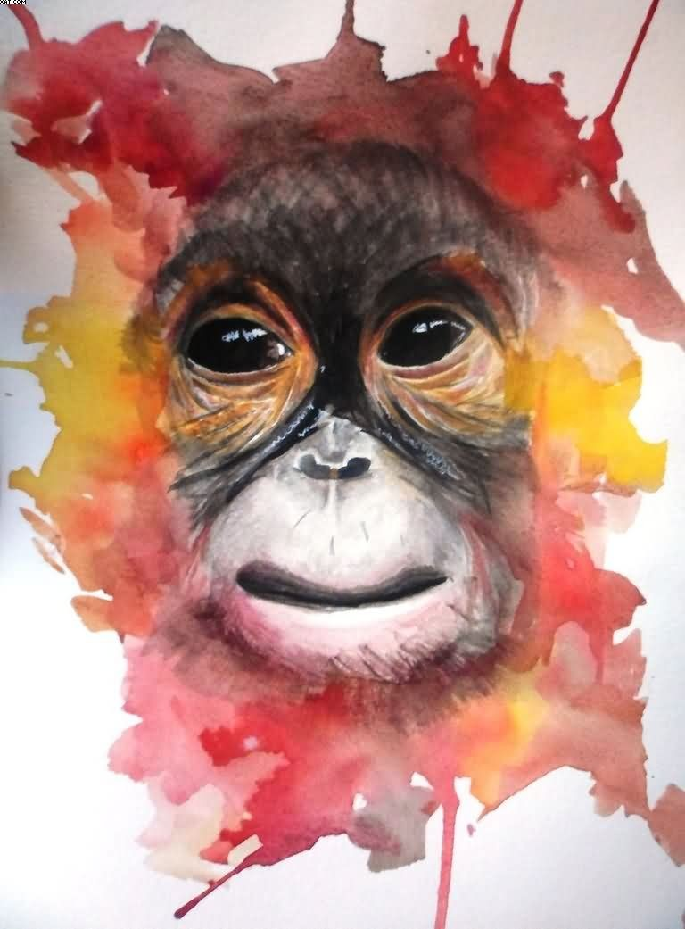 Lovely chimpanzee face on red-and-orange watercolor background tattoo design