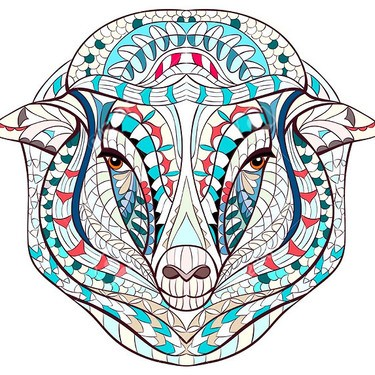 Lovely colorful patterned sheep head tattoo design