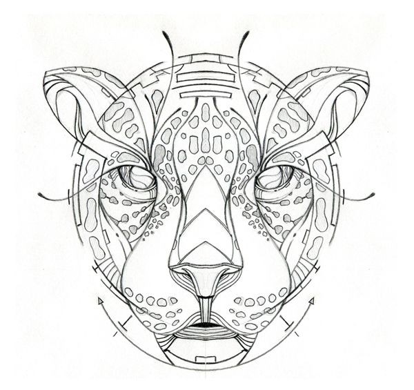 Lovely colorless geometric-patterned jaguar muzzle tattoo design