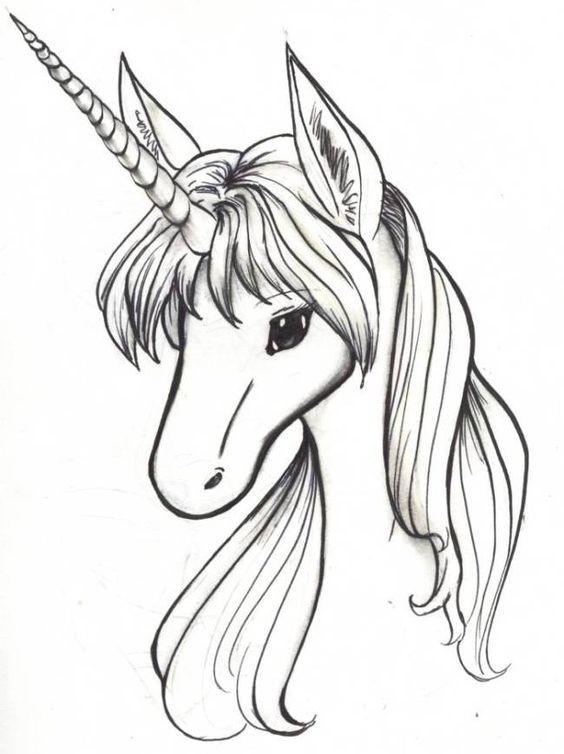lovely elegant greyink unicorn portrait tattoo design