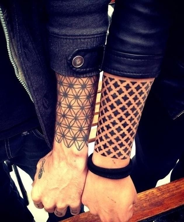 Lovely flowers of life and crosses tattoo sleeves on forearms