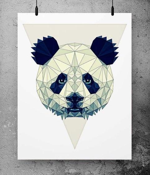 Lovely geometric panda head tattoo design