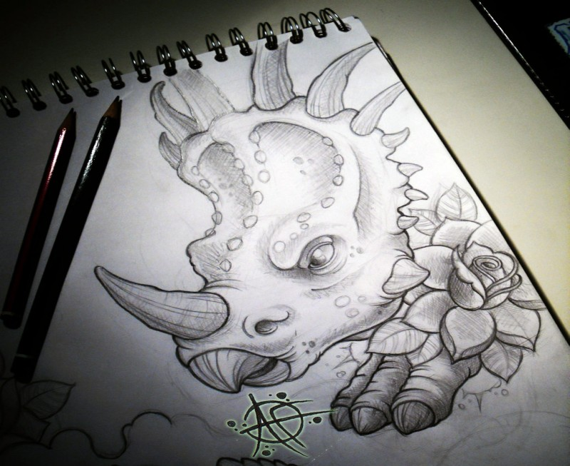 Lovely grey-ink dinosaur with horned mane and rose tattoo design