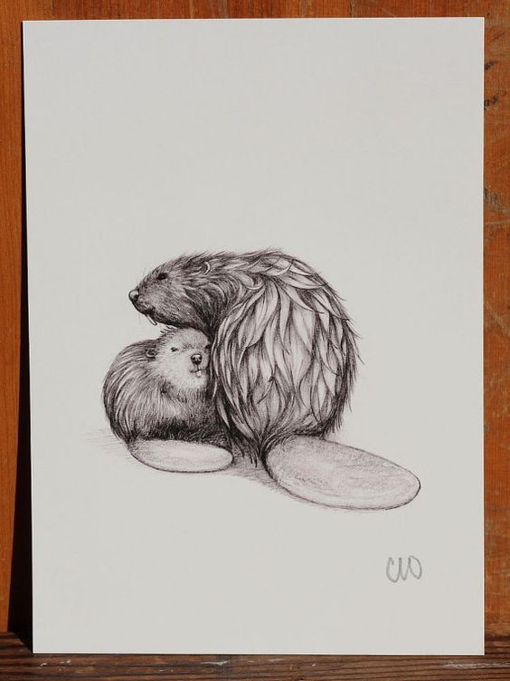 Lovely grey-ink embracing rodent family tattoo design