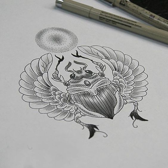 Lovely grey-ink winged scarab bug and shining sun disk tattoo design