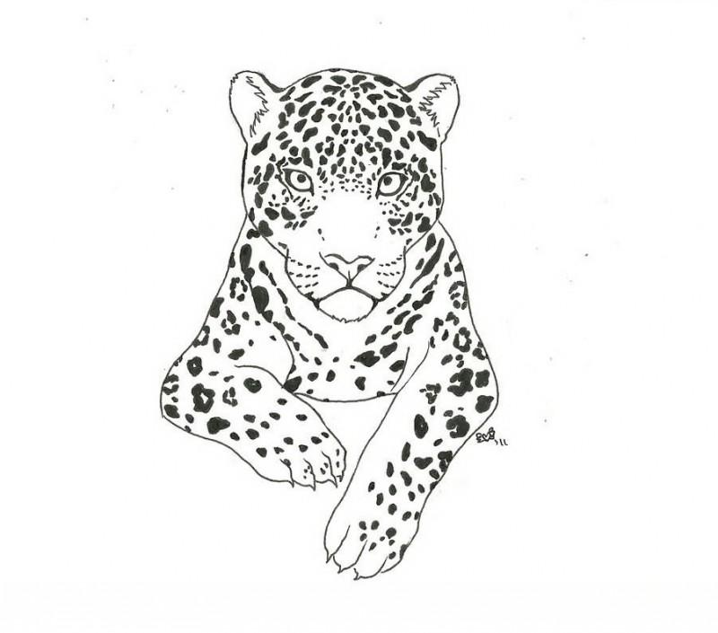 Lovely grey outline jaguar tattoo design