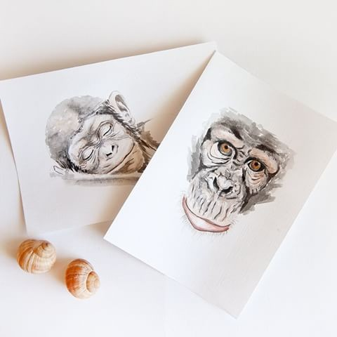 Lovely grey watercolor chimpanzee muzzles tattoo design