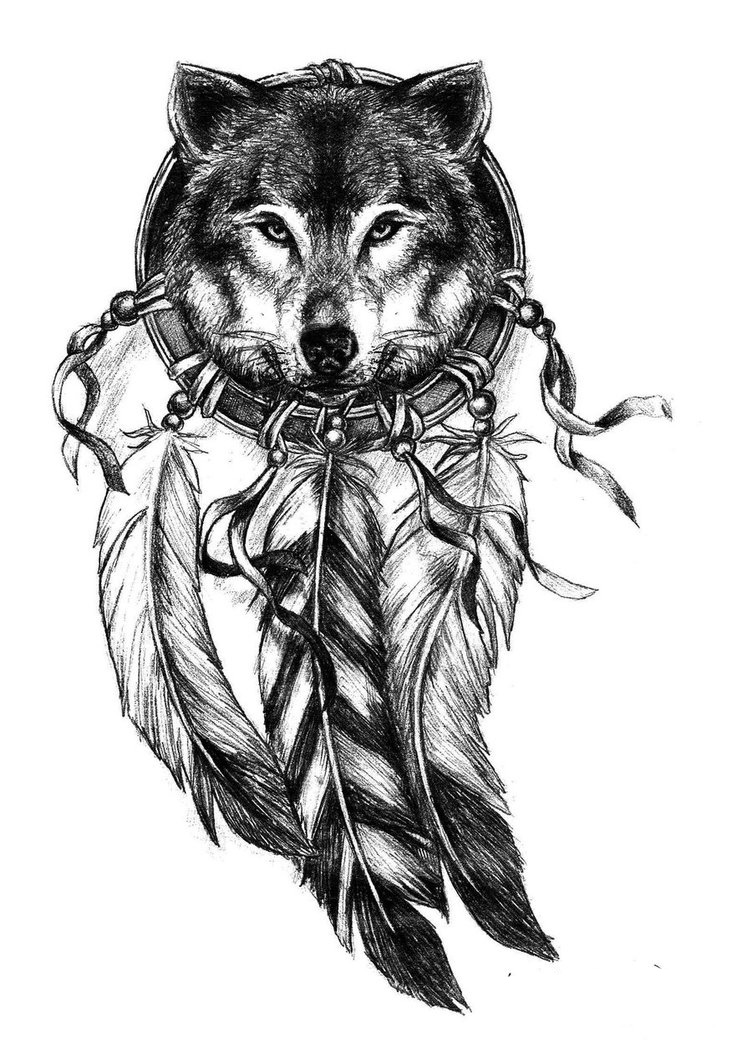 Lovely grey wolf head in indian dream catcher tattoo design
