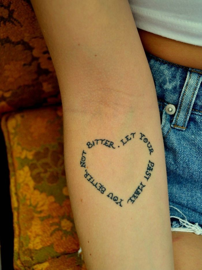 Lovely heart-shaped quote tattoo for girls on arm ... Quote Tattoos On Forearm For Girls